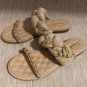 CHANEL Beige Braided Suede Leather Sandals 37Eu